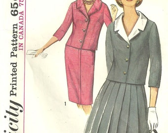 Vintage 60s Sewing Pattern Simplicity 5783 // Suit Jacket Skirt // Size 18