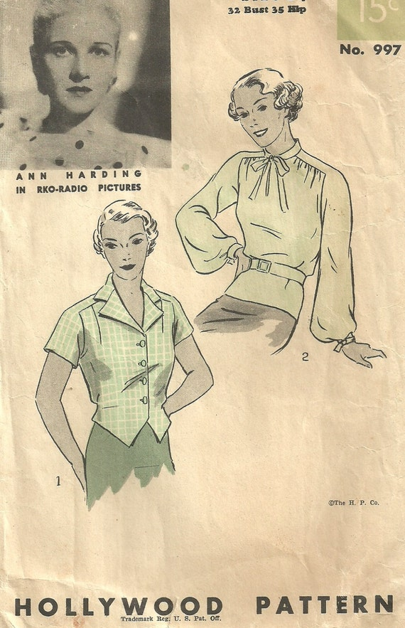Vintage Thirties Sewing Pattern from Hollywood 997 Blouse Size 14 Bust 32