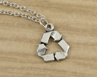 Recycle Symbol Necklace, Silver Plated Recycling Charm on a Silver Cable Chain