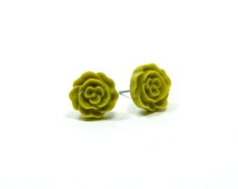 Light Olive Stud Earring Olive Green Stud Earrings Olive Flower Earrings