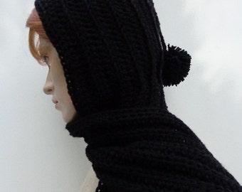 Hooded Scarf Dark Black - Black Scoodie - Black Pixie Hood - Crochet Hat and Scarf