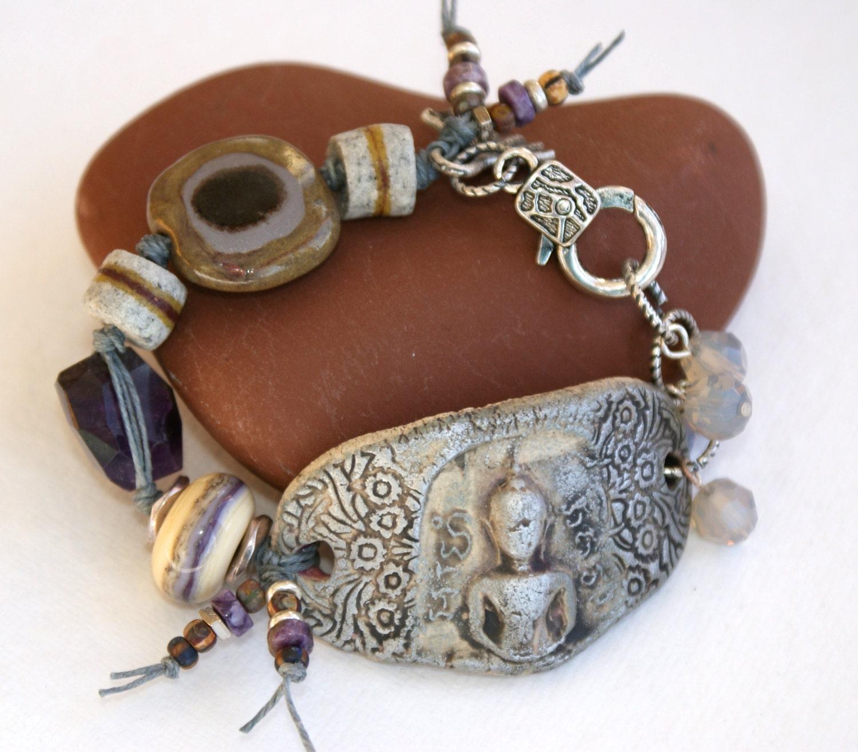 buddha bracelet spiritual jewelry kazuri earthy by yayjewelry