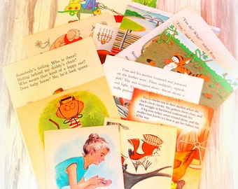 Vintage Children's Book Pages / Junk Journal / 10 Pages / Scrapbook / Planner / Old Book Pages