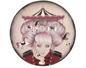 Giclee print by Andy McCready - 'CAROUSEL' - Limited edition, large, carnival, pink, gold, circus, horses. Prints by giltandenvy on Etsy.