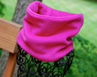 Fleece Neck Warmer / Gaiter / Cowl Scarf - Plain Fuschia Pink - Kids or Adult Sizes