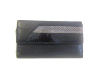 Vintage wallet  Black leather reptile  Boho Chic new old stock snake lizard
