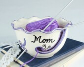 Yarn Bowl Personalized Custom gift for mom Ceramic ANY Name Knitting Holder Crochet organizer storage White BlueRoomPottery MADE To ORDER
