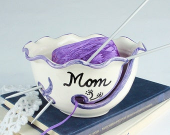 Yarn Bowl Personalized Custom gift for crafty mom Ceramic ANY Name Knitting Holder Crochet organizer storage White, BlueRoomPottery