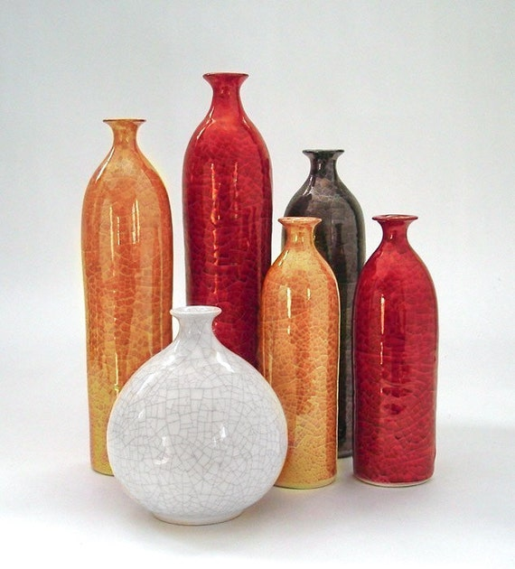 six straight ceramic vases ceramic home decor white minimal wheel thrown pottery vessels bottles
