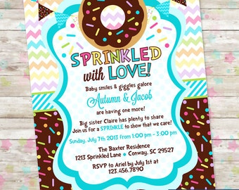 Baby Sprinkle, Donut Baby Shower, Invitation with Donuts and Sprinkles, Baby Boy, Sprinkled with Love Invite