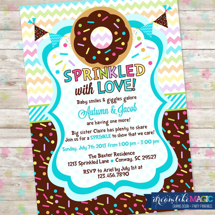 Baby Sprinkle Donut Baby Shower Invitation With Donuts And