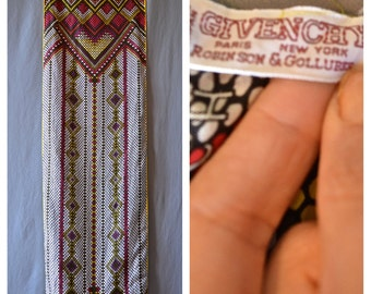 VTG GIVENCHY Silk Hand Rolled Geometric Pattern Rectangle Scarf