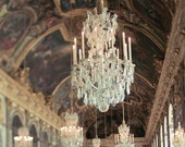 Versailles, Chandelier Wall Art, Paris Bedroom Decor, Hall of Mirrors, White, Gold, Baroque Architecture