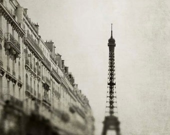 Paris Photography, Eiffel Tower Print, Beige, Brown, Architecture, Paris Wall Decor, Rustic, Paris Prints
