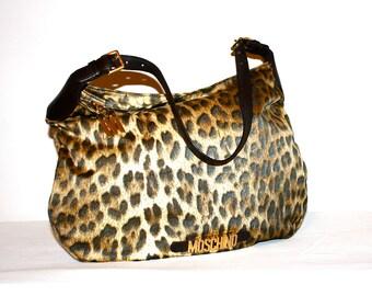 MOSCHINO REDWALL Vintage Leopard Print Handbag Nylon Logo Hobo Tote - AUTHENTIC -