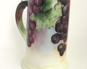 Signed W. G. Limoges France Hand Painted Stein/Mug with Grape Vines//Vintage Porcelain Mug//Barware//Vintage China Stein