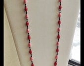 Red Necklace And Earring Set, Paper Bead Jewelry, Hand knotted Necklace, First Anniversary Gifts, Matching Necklace Set, Red Necklace Set