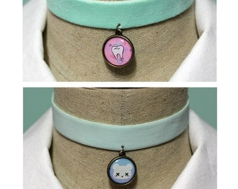 Pastel Goth 2 In 1 Reversible Velvet Elastic Choker - Mint With Your Choice Of Images