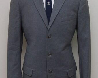 1950s men's grey flannel wool blazer/ 50s men's grey flannel wool blazer/ Rogers Peet