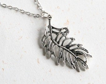 Feather Necklace (N352) in vintage silver color
