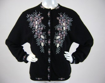 "Vintage 50s Womens Cardigan, Black, Blue, Pink, Beaded, Floral,  Pastel, Lambswool, B 42"", W 30"", Button Front, Mid Century, Rockabilly, VLV"