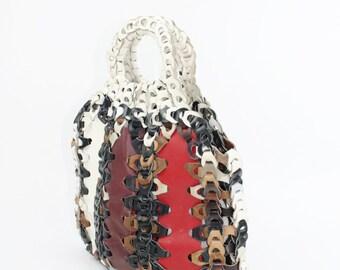 Vintage 80s Purse Handbag Large Leather Multi Colored Chain Ethnic Hobo Shoulder Bag 1980s Slouchy
