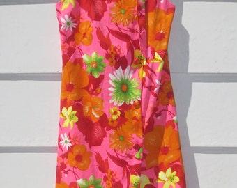 UNIQUE Vintage 1960's Mod Hawaiian REEF Barkcloth Sundress-Orange, Fuchsia, Yellow-LG