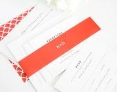 Red Wedding Invitation - Red, Bright Red, Envelope Liner, Pattern, Preppy - Classic Urban Wedding Invitation - Preppy Wedding Invitation