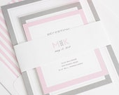 Wedding Invitation, Pink Wedding Invitation, Pink and Gray Wedding Invitations, Wedding Invites - Modern Initials - Deposit to Get Started