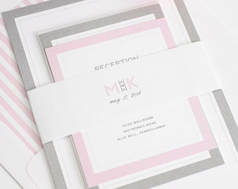 Gray and Pink Wedding Invitation - Romantic Pink Romantic Wedding Invites - Modern Initials Wedding Invitations by Shine Invitations