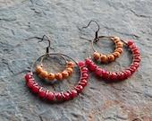 Wire wrapped beaded hoops, colorful earrings, hoop earrings, chandelier earrings ,raspberry jade, pink and brown, bohemian, gypsy earrings