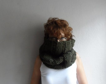 Chunky Cowl Scarf Shawl Hood, Chunky Scarf, Hand Knit Big Cowl in Army Green, Unisex, Winter Accessories, Holiday Fashion
