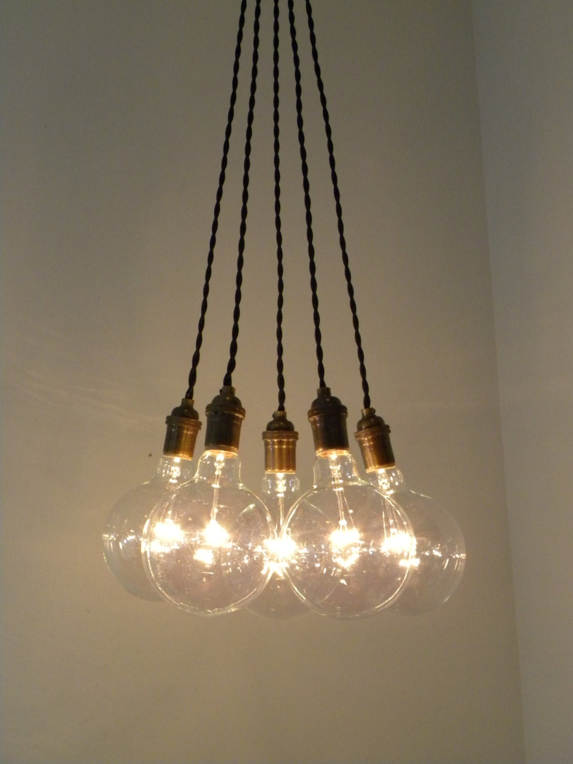 5 Bulb Antique Tiwsted Cloth Cord Chandelier Pendant Lighting