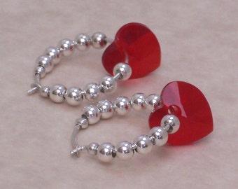 Earrings Red Swarovski Crystal Hearts Sterling Silver Beaded Hoops