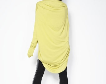 Yellow Mustard Tunic with Cowl Back / Loose Top / Long Sleeve Extravagant Tunic / Oversize Blouse - MB094