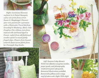 As Seen In Victoria Magazine, A Pastel Bouquet, Watercolor Flower Bouquet, Fine Art Print 8x10, 11x14 Watercolor Flowers
