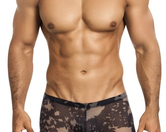 Men's See-Thru Black Mesh Erotic Underwear Squarecut by Designer Vuthy Sim - 401-5