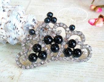 4 pcs BLACK Pearls Stunning Tiara Crowned Princess crystal Rhinestone Buttons, Crystal Tiara Bow Embellishment