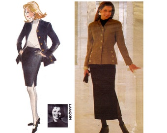 90s Military Style Jacket & Skirt Pattern Vogue 1181 Vintage Sewing Pattern Sizes 8 10 12 Bust 30 - 34 inches
