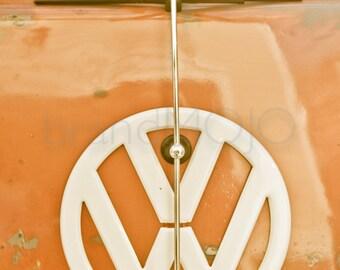 Vintage bus Photography VW volkswagon van emblem type 1 t1 road trip 67 surfer orange beach aged metal - Kombi Microbus - fine art photo