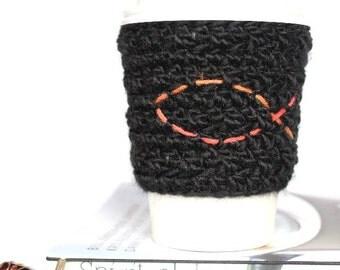 Fish travel mug cup cozy coffee black wool crochet