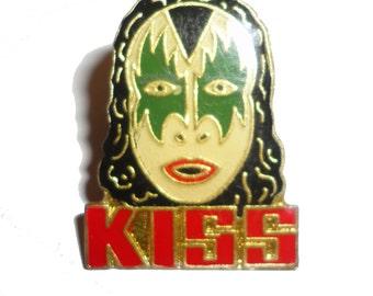 KISS vintage enamel pin button Gene Simmons Paul Stanley Peter Criss Ace Frehley