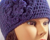 womens crochet hat girls crochet hat with flower dark purple with teal heathering hats for women hats for girls 5671
