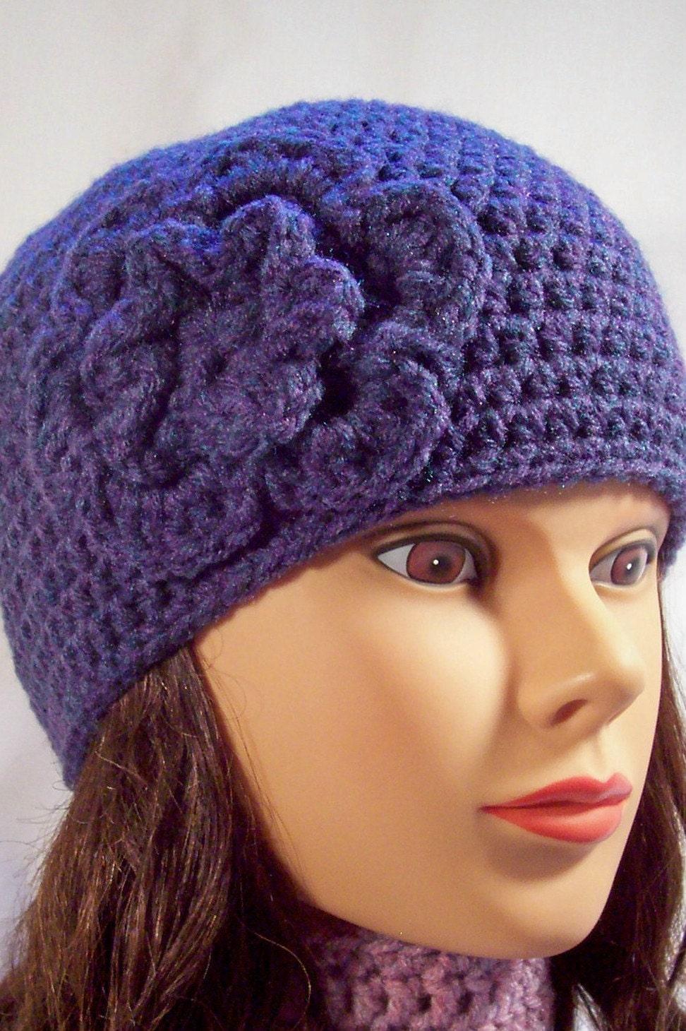 womens crochet hat crochet hat with flower purple