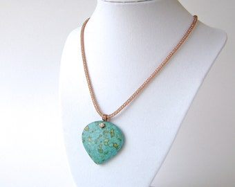Turquoise Necklace, Copper, Mosaic Turquoise, Silver Silk, Gemstone Jewelry, Turquoise, Aqua, Green, Blue, Heart Pendant, 739