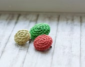 Pebble brooches crochet brooches in bright green, orange and pale yellow round pin brooches set of three