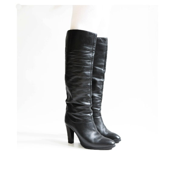 black leather high heel boots palmroth designer city boots