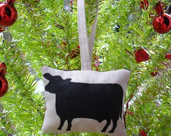 Black Angus Cow Hand Stamped Ornament by SBMathieu