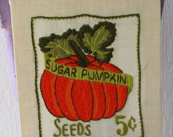 Vintage 1970's Crewel Sewing Sugar Pumpkin Seeds Picture Halloween Fall Autumn