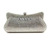 Swarovski Crystal Clutch, Bridal Clutch, Silver Minaudiere, Wedding Purse, Evening Bag, Austrian Crystal Clutch, Luxury Clutch